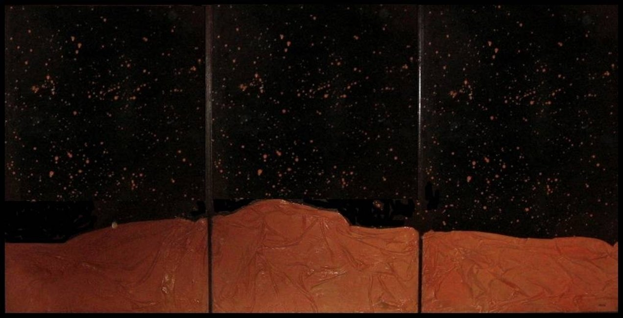 Informalist work where we observe a lunar landscape with a starry black horizon made out of fabrics prepared and primed