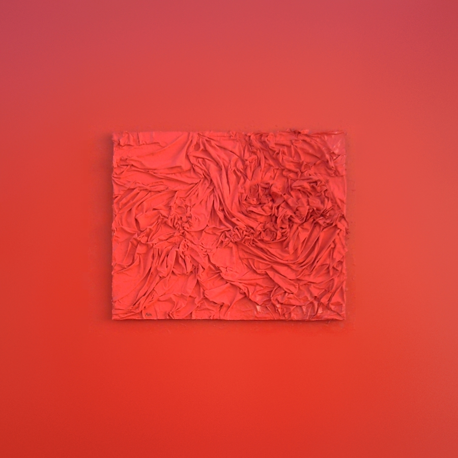 Color, relief and texture is so prevalent in this work using the technique of couthe in shades of red. Conceptual art. Tribute to Joy Division