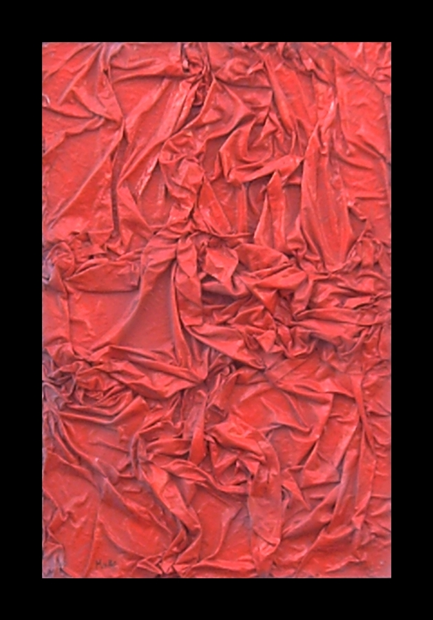 Color, relief and texture is so prevalent in this work using the technique of couthe in shades of pink. Conceptual art. Tribute to Joy Division