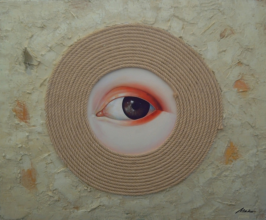 Oil painting of an eye in a rope that symbolizes a broken heart. Tribute to Joy Division