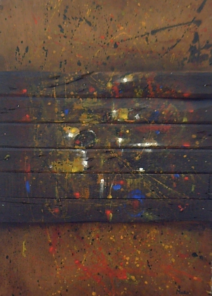 Assemblage of  used wooden slats in horizontal union with splashing different colors. Homage to Hieronymus Bosch