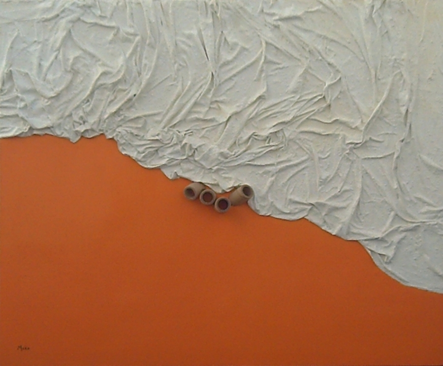 The Concept, shape and relief seen in this work of oneiric theme with tearing of matter of orange and white colors