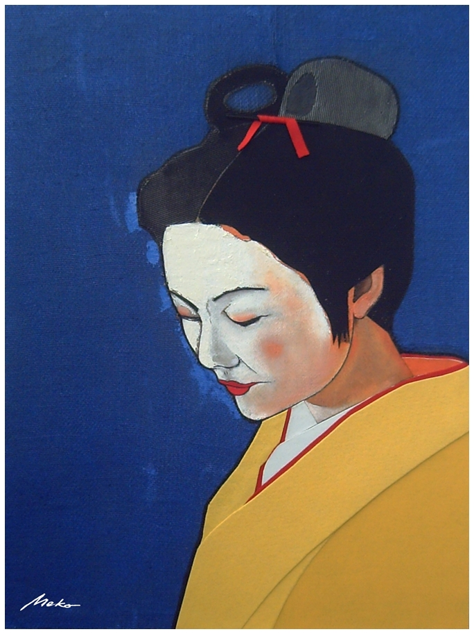 Portrait of maiko with blue burlap background and yellow cloth kimono