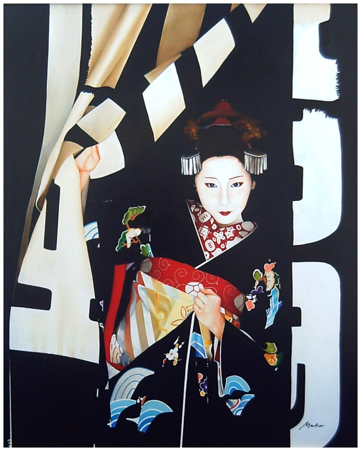 Oil painting of a maiko coming out of their rooms freshly dressed
