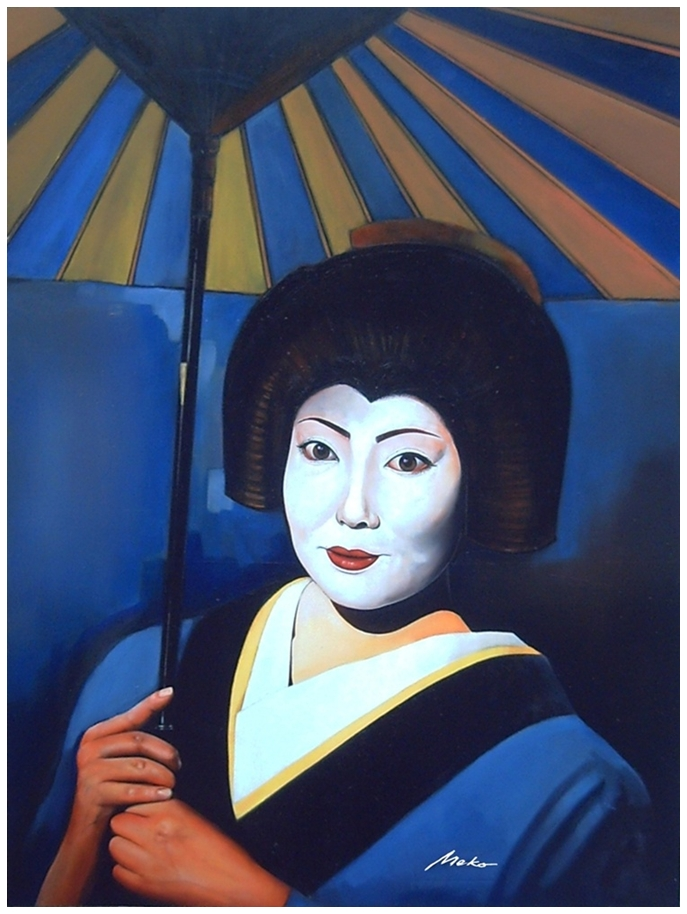 Portrait of a geisha with umbrella walking the streets of Edo at sunset
