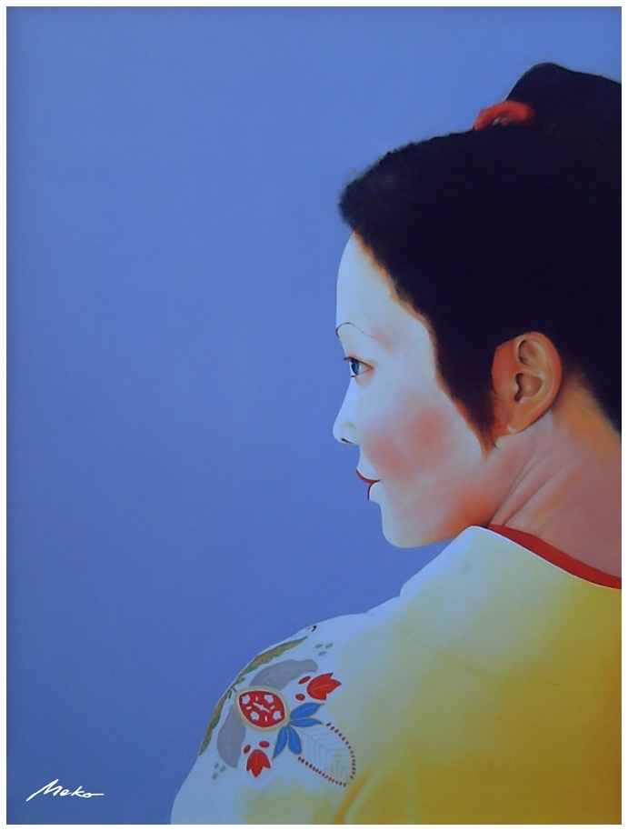 Profile portrait of apprentice geisha with a blue purple background and yellow kimono