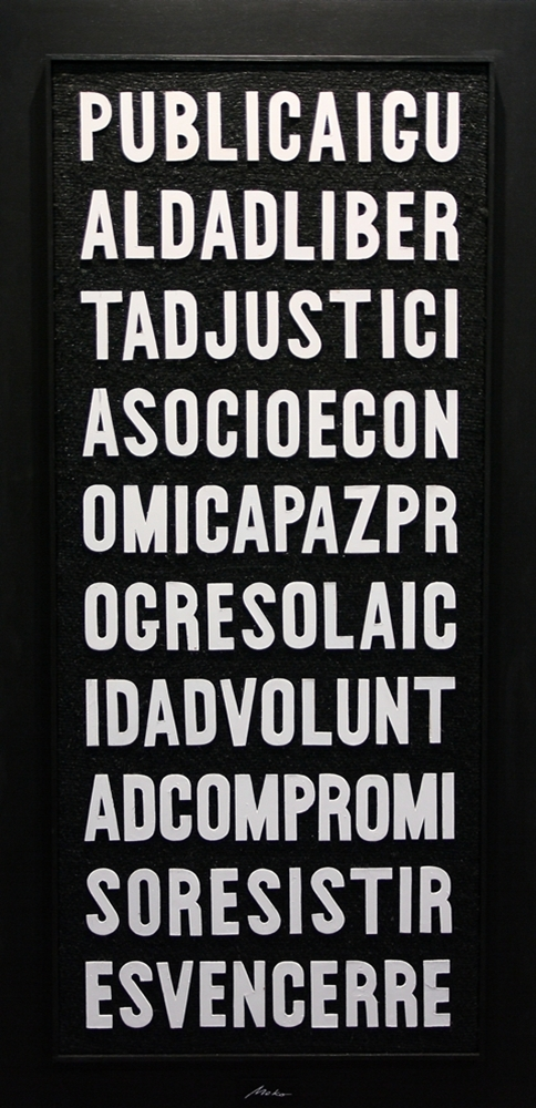 Conceptual work consisting of a composition wooden letters in white on black burlap in memory of President of Government Juan Negrín