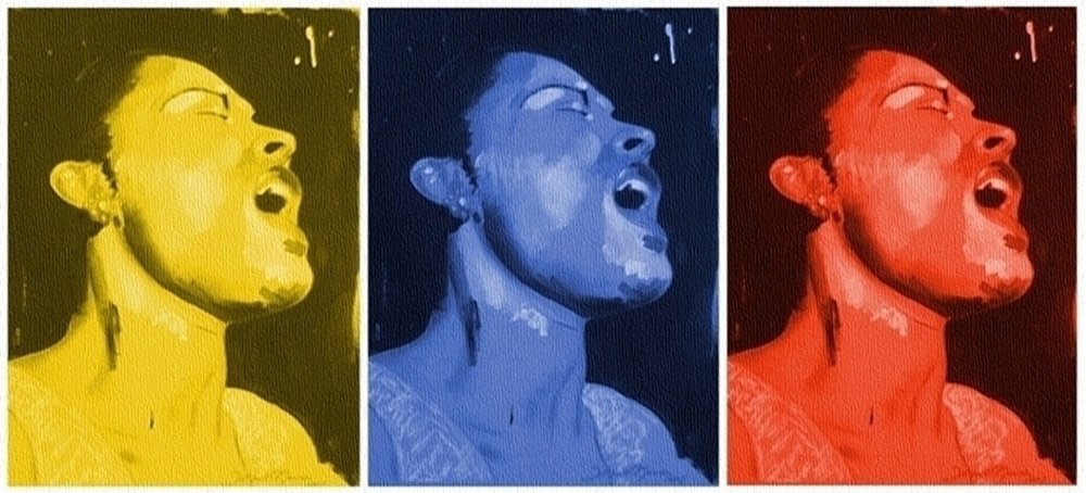 Silkscreen on canvas are these three portraits in yellow, blue and red colors, of the great jazz singer Billie Holiday