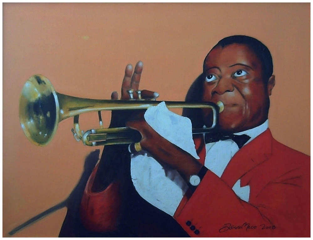 Figurative painting of the great master of jazz Louis Armstrong with warm and bright colors where predominates red and ocher