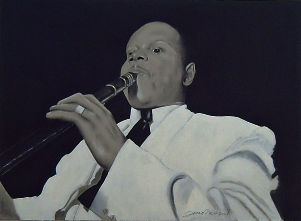 Charcoal on gray cardboard compressed of the clarinetist of jazz, Albert Nicholas, at Jimmy Ryan's Club of New York