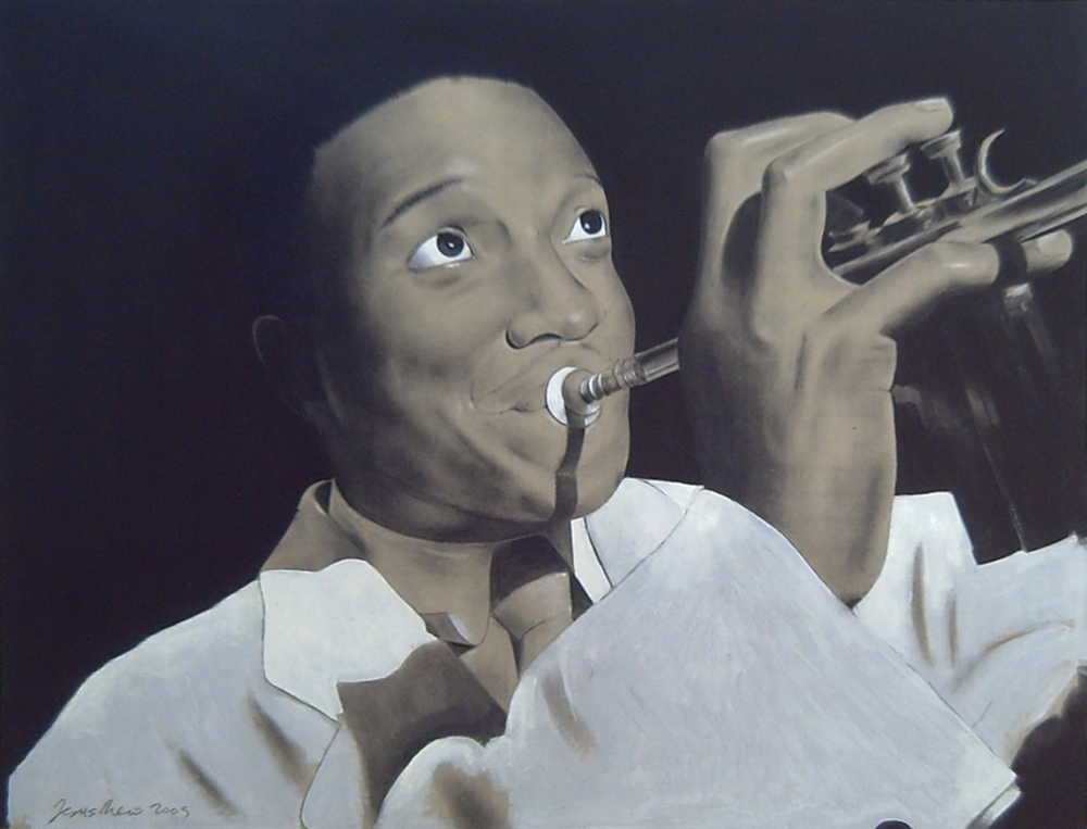 Charcoal on gray cardboard compressed of the trumpeter, singer and composer of jazz, Dizzy Gillespie, at the Downbeat Club of New York
