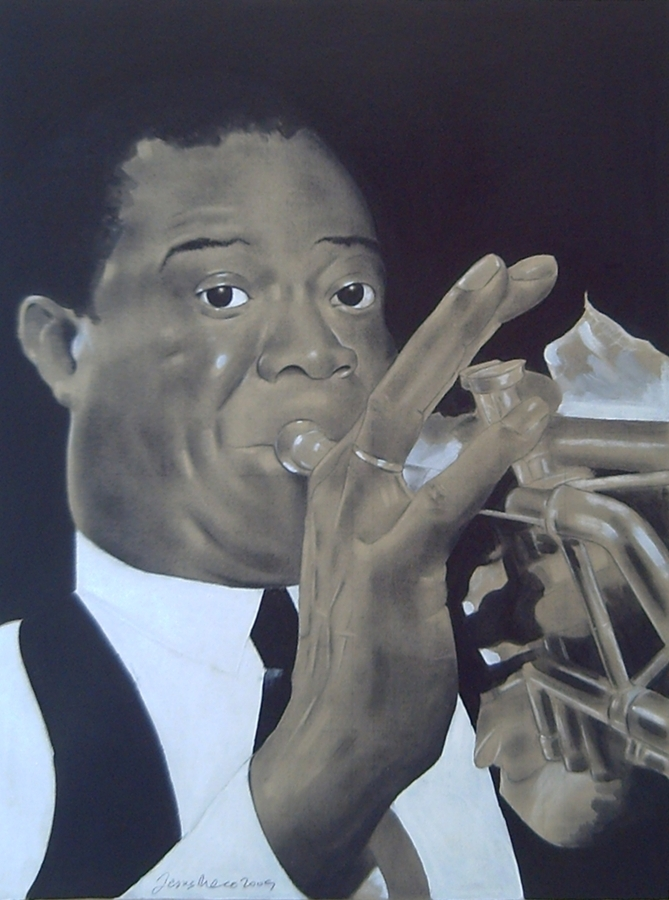 Charcoal on gray cardboard compressed of the trumpeter and singer of jazz, Louis Armstrong