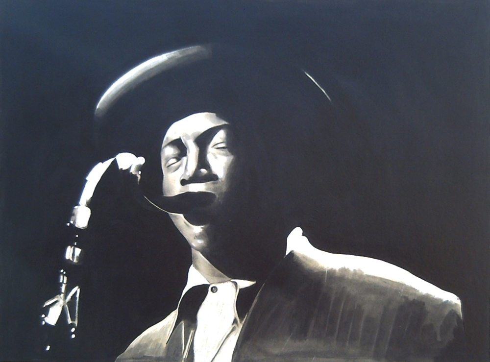 Charcoal on gray cardboard compressed of a jazz saxophonist