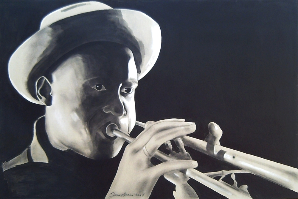 Charcoal on gray cardboard compressed of a jazz trumpeter