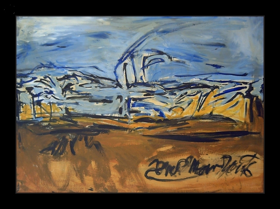Fast and loose brushstrokes can be seen in this expressionistic landscape where dominated ocher and blue colors