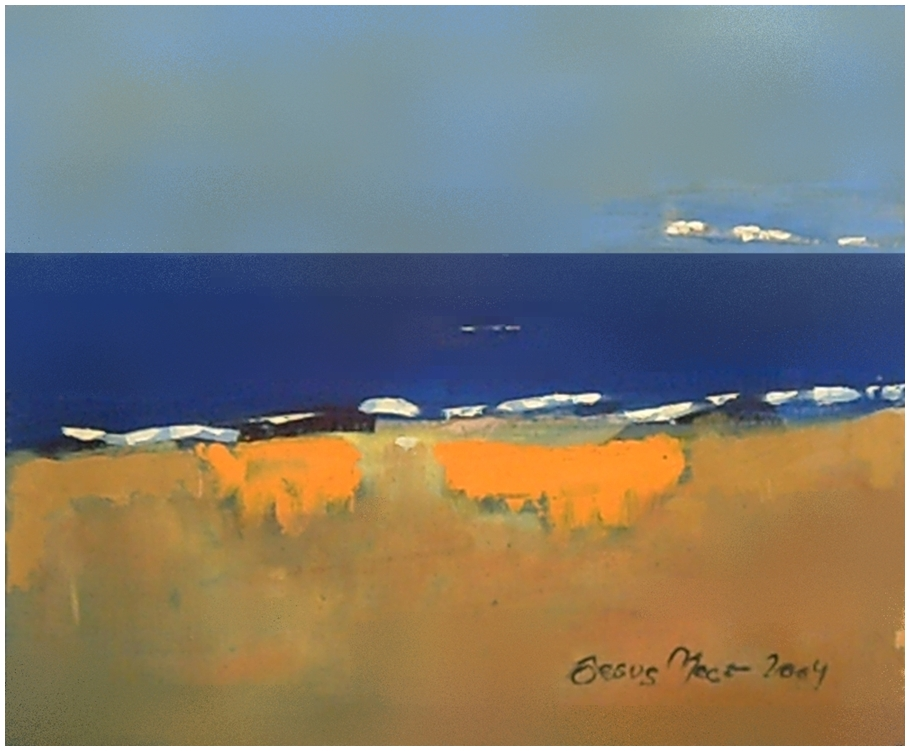 Sea landscape with expressionist influences with blue and ocher colors