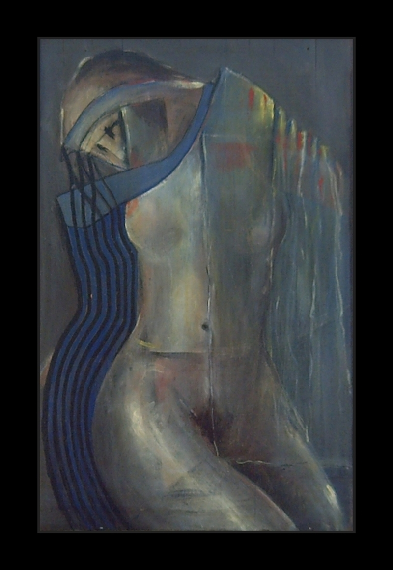 Expressionist and surrealist Figure of a venus where the colors blue and gray predominate