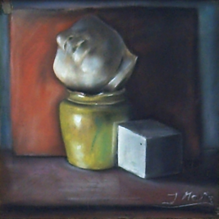 Pastel drawing of a study made of plaster and porcelain where warm colors predominate
