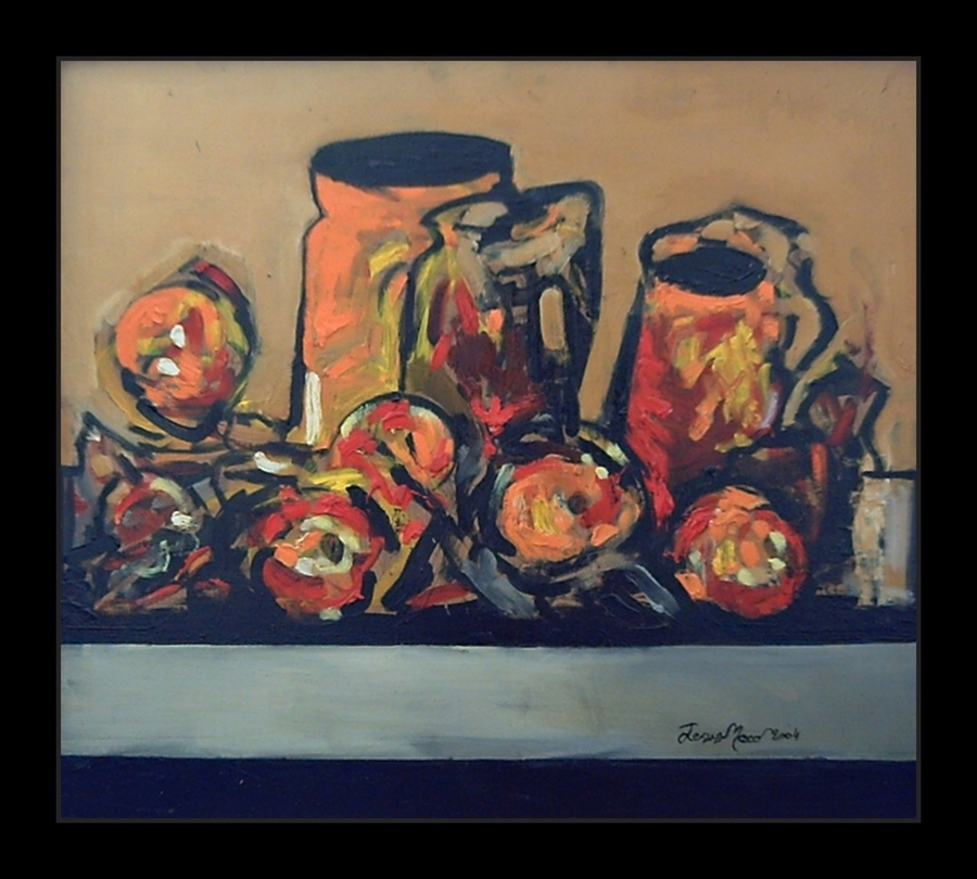 Expressionist still-life with fast and thick brushstrokes where warm colors dominate like red and orange