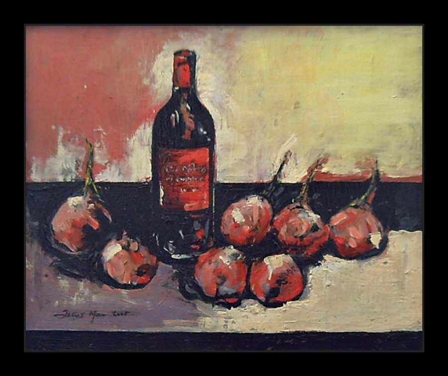 Expressionist still-life dominated for different shades of red, purple and white