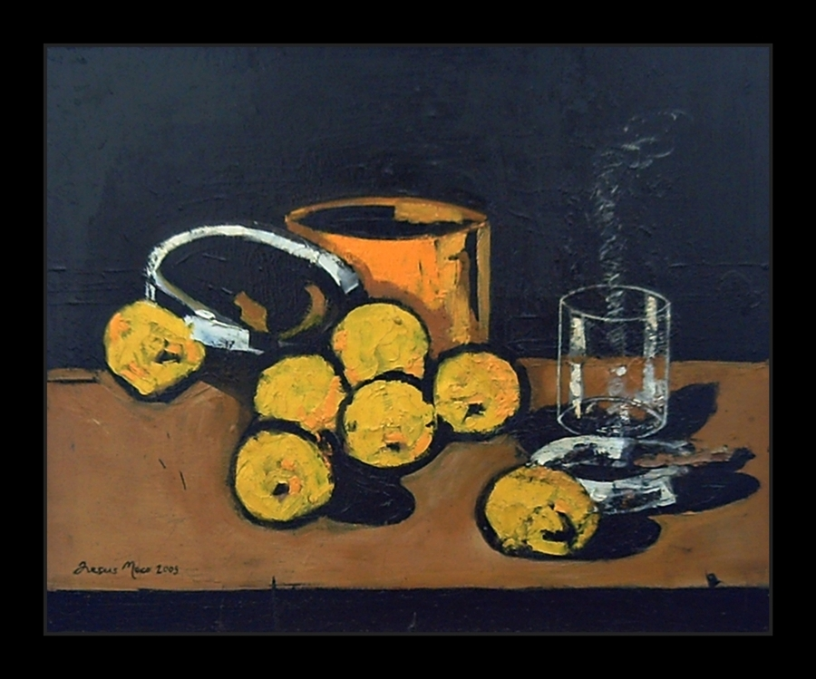 Expressionist still-life with fast and thick brushstrokes where black, ocher, orange and yellow colors predominate