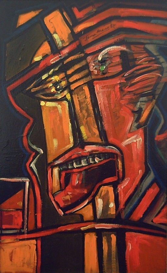 Figurative painting with clear influences of Picasso with a high content of warm colors like red and orange