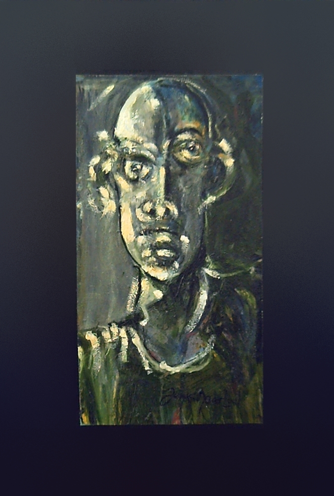 Expressionist Portrait with thick impasto of oil colors green and gray